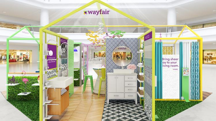Boston-based online furniture retailer Wayfair Inc. is expanding beyond its internet-only confines this winter with two pop-up stores at the Natick Mall and the Westfield Garden State Plaza in New Jersey,